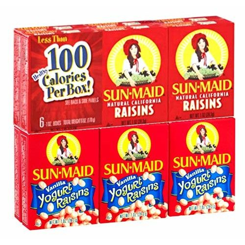 Sun-Maid California Raisins variety snack pack 12 count - 6 boxes plain raisins, 6 boxes yogurt covered raisins
