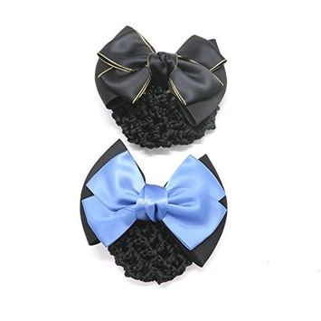 IDS Women's Two-Way Snood Net Bow Barrette Hair Clip Bun Cover Set,Pack Of 4