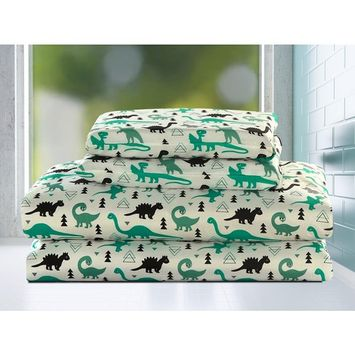 Dinosaur Full Size 4 Piece Sheet Set Microfiber Kids Boys Bedding, Green and Black