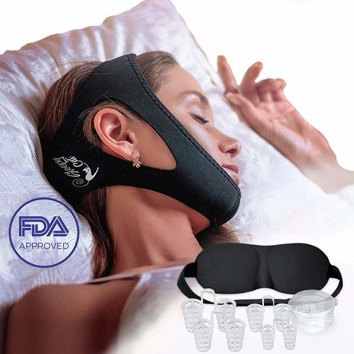 Set of Anti Snoring Chin Strap Nose Vents and Eye Mask, Snoring Solution and Anti Snoring Devices, Adjustable and Flexible for Sleeping, Stop Snoring Devices for Men Women (2)