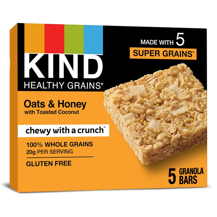 KIND HEALTHY GRAINS Oats & Honey with Toasted Coconut Bars, Gluten Free Bars, 1.2 OZ Bars (5 Count)