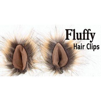 Fluffy Hair Clips (Tan/Tan)