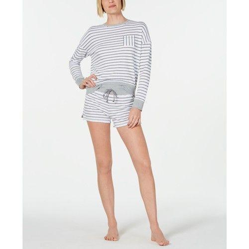 Crewneck Top & Striped Pajama Shorts Knit Sleep Separates, Created for Macy's