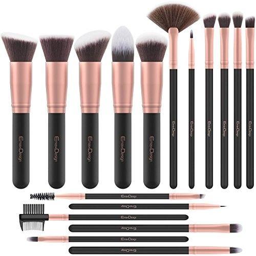 EmaxDesign Makeup Brushes 17 Pieces Premium Synthetic Foundation Brush Powder Blending Blush Concealer Eye Face Liquid Powder Cream Cosmetics Brushes Kit (Rose G