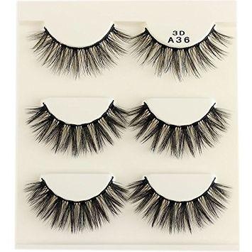 3 Pairs Soft Fiber False Eyelashes Fluffy Wispy Lashes Thick Long Natural Eye Makeup Tools