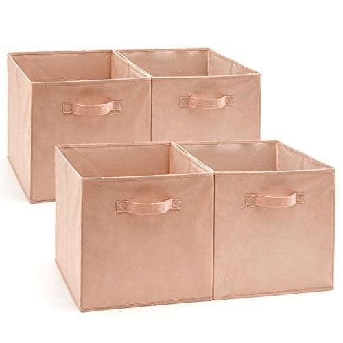 EZOWare Set of 4 Foldable Fabric Basket Bin, Collapsible Storage Cube Boxes for Nursery Toys (13 x 15 x 13 inches)