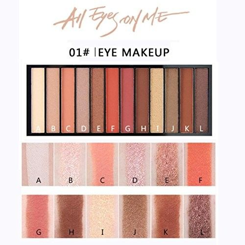 Glitter Matte Eyeshadow Palettes Highlight Long-lasting with Silky Shine Color Luxury Eye Shadow Palettes 12 Colors Eyeshadow Palettes with 2 Ended Brush