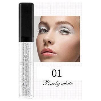 Liquid Glitter Eye Shadow,SMYTShop Long-lasting Makeup Liquid Smoky Eyeshadow Shimmer Cosmetic (Pearl White)