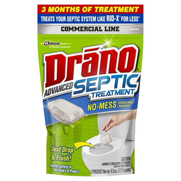 Drano Advanced Septic Treatment, Septic Tank Pouches, 3 Count
