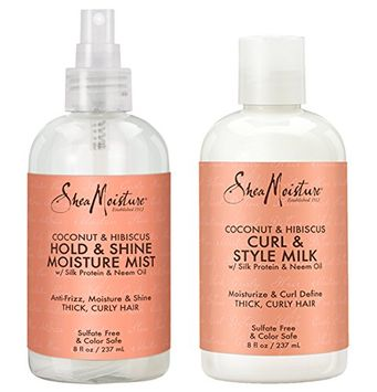 Shea Moisture coconut Hibiscus Hold & Shine Moisture Mist 8 Ounce Shea Moisture coconut Hibiscus curl & Style Milk 8 Ounce