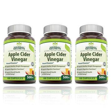 Herbal Secrets Apple Cider Vinegar 500mg 500 Capsules, 3 Pack