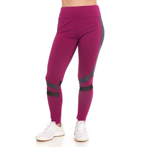 Women's Active Color Block Leggings with Mesh Inserts