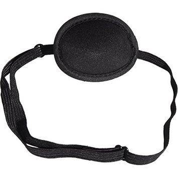 Hicarer Pirate Eye Patches Adjustable Eye Patch Kids Adults Concave Single Eye Mask for Amblyopia Lazy Eye Recovery Eye, Black (2.95 x 2.76 Inches)