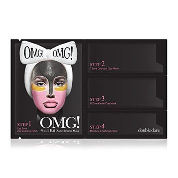 double dare OMG! 4in1 Kit Zone System Mask - Rejuvenating and Refreshing with 24k Gold, Charcoal and Kaolin Clay