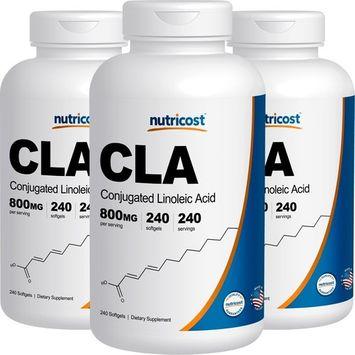 Nutricost CLA (Conjugated Linoleic Acid) 800mg, 240 Softtgels (3 Bottles)