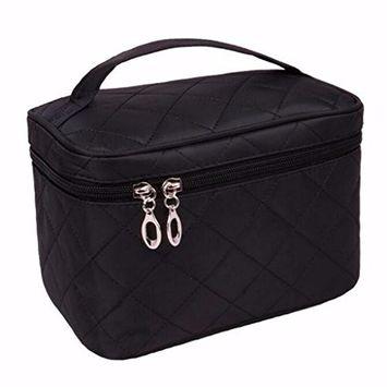 LOUISE MAELYS Zipper Travel Cosmetic Bag Makeup Brush Holder Top Handle Toiletry Bag Organizer