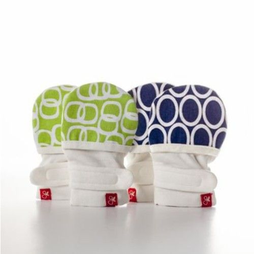 goumimitts Soft Stay On Scratch Mittens - Stop Scratches and Germs, 2 Pack (Cirque/Pink - Ellipse/Pink, 0-3 Months)