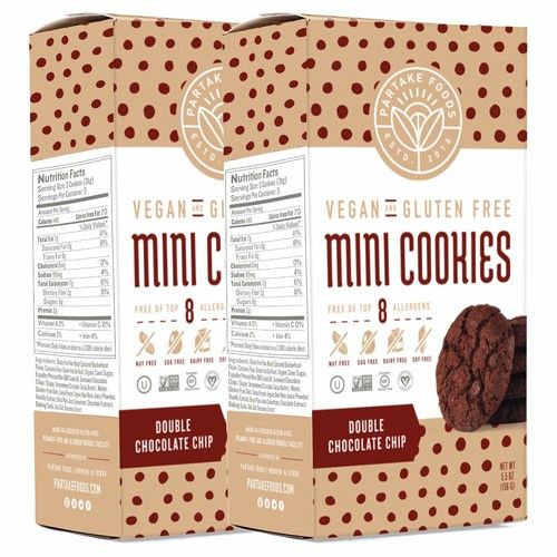 Partake Crunchy Cookies - Double Chocolate Chip   2 Boxes   Vegan & Gluten Free   Free of Top 8 Allergens - Dairy, Peanuts, Tree Nuts, Eggs, Wheat, Soy, Fish, & Crustacean Shellfish   15 Cookies Each [Double Chocolate Chip]