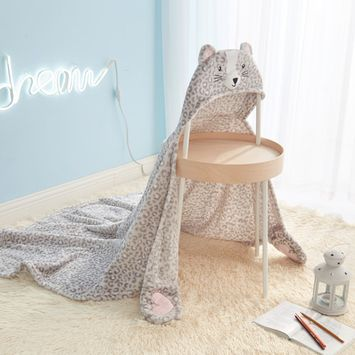 Cat Hooded Throw for Kids by Mainstays