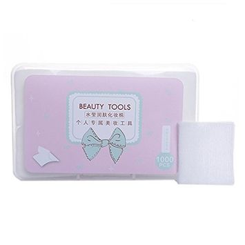 1000Pcs/1 Box Cosmetic Makeup Facial Soft Cotton Pads Face Cleansing Wipe Cotton Square Pad Nail Polish Remover Pads with Box Skin Care Tool