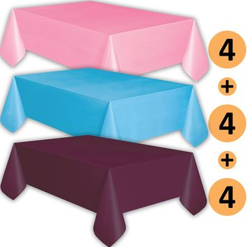 12 Plastic Tablecloths - Classic Pink, Turquoise, Plum - Premium Thickness Disposable Table Cover, 108 x 54 Inch, 4 Each Color