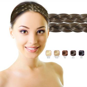 Hollywood Hair Double Braid Headband - Dark Brown