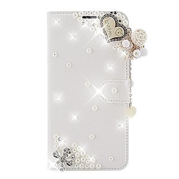 Samsung Galaxy A6 Plus 2018 Case, Scheam Leather Case 3D Diamond Bling Shining Case Wallet Case Credit Card Slot Kicktand Flip Cover Shockproof Protective Case for Galaxy A6 Plus 2018 (I love you)