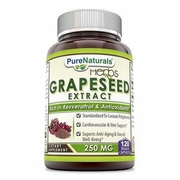 Pure Naturals Grapeseed Extract * 250mg Grape Seed Capsules Rich in Resveratrol * Easier to Take Than Grape Seeds Oil * Supports Immune Health & Healthy Ageing * 120 Capsules