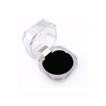 HuntGold 1X Cool Transparent Acrylic Earrings Ring Display Storage Organizer Box Holder Case(black)