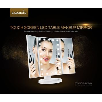 Easehold Cosmetic Makeup Mirror Tri-Fold Lighted Vanity Mirror Three Panel 21Pcs Led Light 180 Degree Free Rotation Countertop