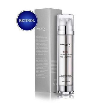 Eye Cream with Retinol for Dark Circles, Puffiness, Wrinkles and Bags, Day & Night Anti-Aging Eye Dual Treatment Gel for Under and Around Eyes, Best Gifts for Women and Men, 2 x 0.85oz