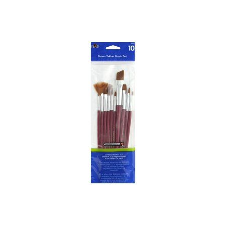 Plaid Brush Set Brown Taklon 10pc