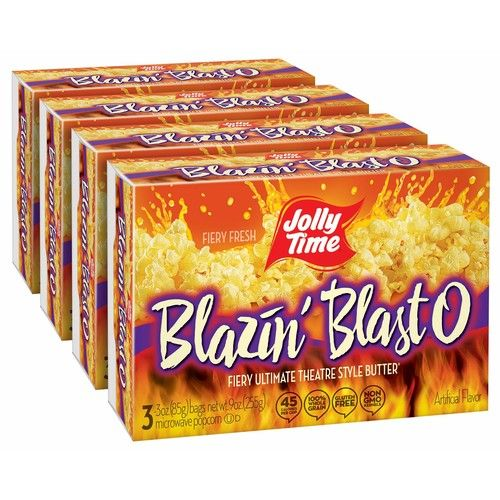 jolly time blazin blast o butter spicy hot gourmet movie theater buttery microwave popcorn with fiery chili pepper seasoning kick 3 count boxes