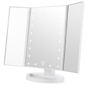 21Pcs Led Light Vanity Mirror Makeup Tri-Fold 180 Degree Free Rotation Table Countertop Cosmetic Bathroom Mirror (White)