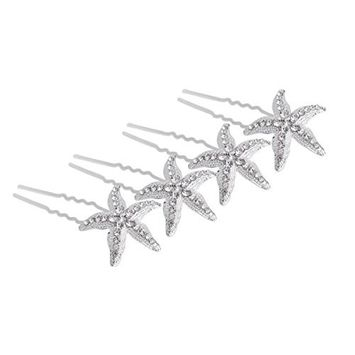 10 Pcs Silver Starfish U Shaped Hair Pin - Crystal Rhinestone Hair Jewelry Accessories for Women Lady Girl Party Wedding and Daily Use