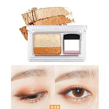 lotus.flower 8 Color Shimmer Two-color Stamp Eyeshadow Palette Makeup Powder Flexibility Lasting(Contain Special Brush)