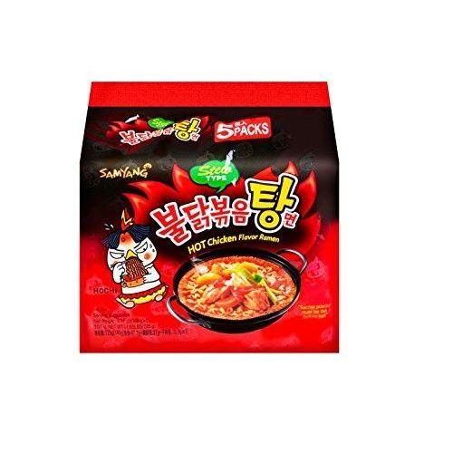 (VALUE FAMILY PACK) SAMYANG Korean Hot Chicken Ramen Stew Type (5PKS) (KOREAN SPICY NUCLEAR FIRE NOODLE) : Grocery & Gourmet Food