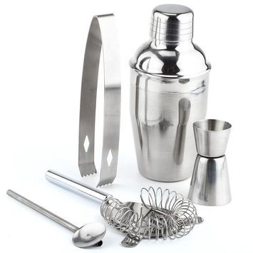 TekDeals 5 PCs Stainless Steel Cocktail Shaker Mixer Drink Bartender Martini Tools Bar Set Kit 550 ml