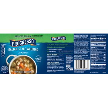 Progresso Soup, Reduced Sodium, Italian Style Wedding with Meatballs Soup, 18.5 oz Can