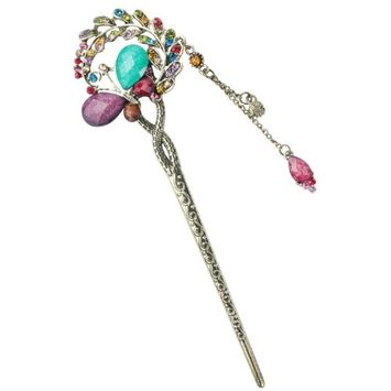FOONEE Lovely Vintage Classic Turquoise Rhinestone Engrave Butterfly Bob Hair Pins,Multicolor by niceeshop