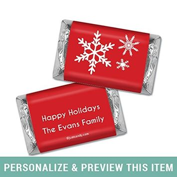 Happy Holidays Personalized Hershey's Miniatures Wrappers Holiday Snowflakes (20 Wrappers) Red
