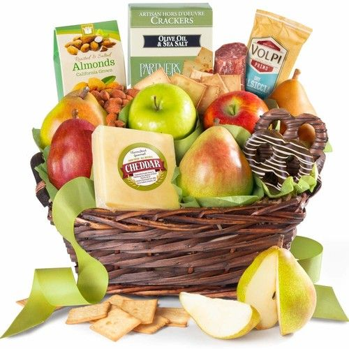 Fresh Fruit, Cheese & Charcuterie Gift Basket in Insulated Shipper with Ice