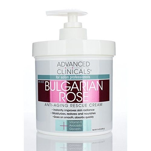 Advanced Clinicals Bulgarian Rose Oil Cream Anti-Aging Rescue for Face, Hands, Neck. Spa Size 16oz