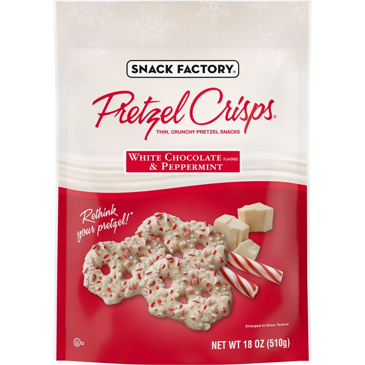 Snack Factory Pretzel Crisps® Holiday Peppermint White Chocolate Covered Pretzels