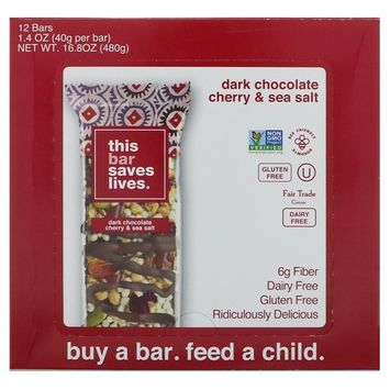 This Bar Saves Lives, LLC, Dark Chocolate Cherry & Sea Salt, 12 Bars, 16.8 oz (480 g) [Flavor : Dark Chocolate Cherry & Sea Salt]