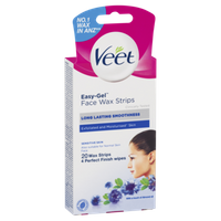 Veet® Facial EasyGrip™ Ready-to-Use Wax Strips Sensitive Skin