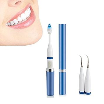 Pevor Tooth Stain Remover, 2 in 1 High Frequency Vibration Sonic Toothbrush Electric Toothbrush Dental Calculus Teeth Stain Removal for Oral Care [A]