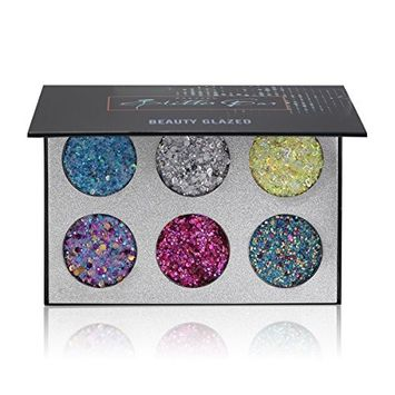 Beauty Glazed Professional Cosmetic Eyeshadow Palettes 6 Colors Glitter Injections Pressed Pigmented Glitter Powder Make Up Palettes Diamond Rainbow