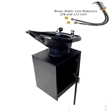 Tilting Shampoo Bowl, Black Salon Sink with Shampoo Cabinet, Beauty Salon Equipment for Hair Stylists - TLC-13C-T - eMark Beauty
