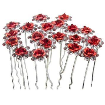 20pcs Crystal Rose Flower Wedding Bridal Hair Clips Pins Bridesmaid Jewelry Hair Accessories for Women Party Banquet, Red